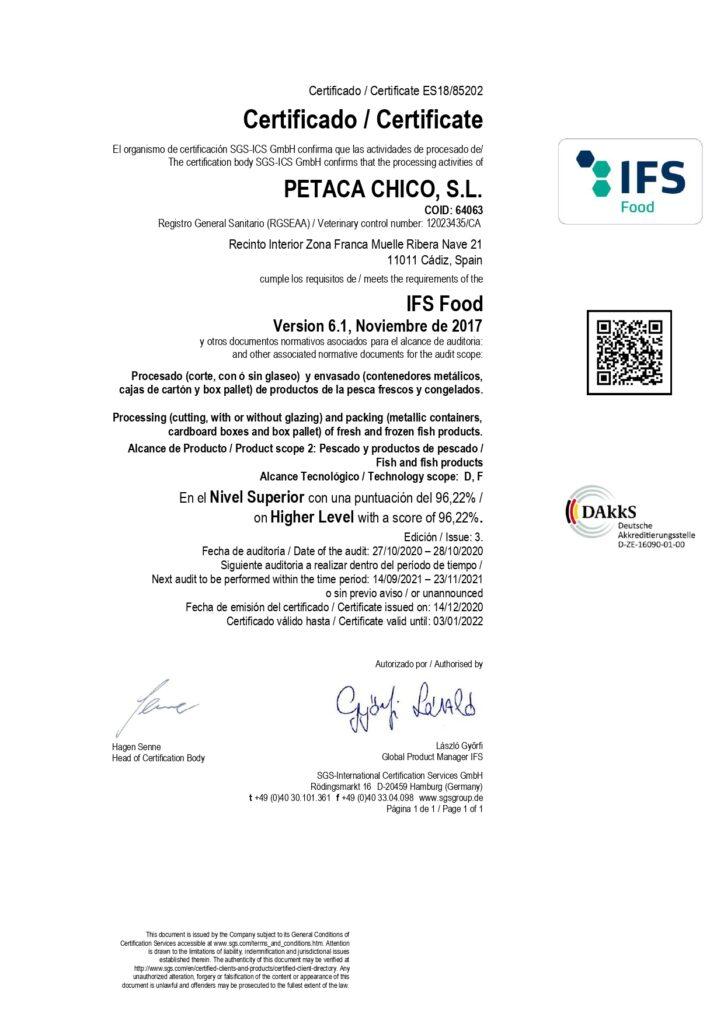 certificado ifs atun rojo almadraba